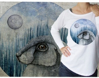 Rabbit with moon - woman T-shirt - S-XL - 01