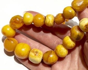 Old Egg Yolk amber necklace 14k BIG 65g! Art Deco natural Amber egg yolk butter scotch caramel amber necklace