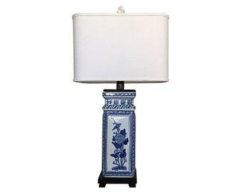 1950s Blue & White Porcelain Lamp