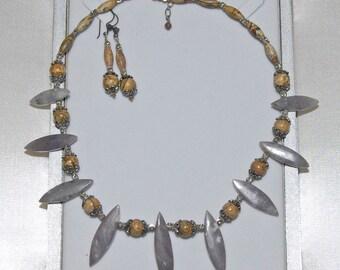 Handmade Picture Jasper Beads Purple Jade Spiky Tribal Necklace w Earrings