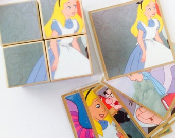 Wooden Puzzle Storyblocks - Handmade from repurposed 'Alice in Wonderland' Book