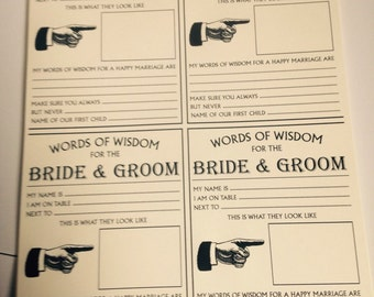 50 x 'whos on your table' funny advice words of wisdom wedding cards