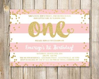 First Birthday Invitation, 1st Birthday Invitation, Birthday Invite, Pink and Gold, Blush Pink, Gold Glitter, Printable