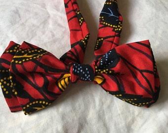 Noeud Papillon double en tissu africain wax imprimé motifs liberty scratch