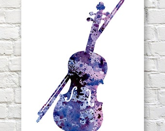 Violin Art Print - Abstract Watercolor Painting - Music Wall Decor