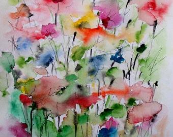 ORIGINAL WATERCOLOR / CRESCENDO / Flowers collection / by Rovira Rusiñol / 15.7 x 11.8 in