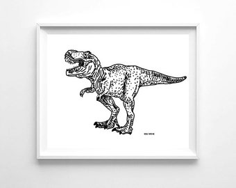 "Nursery Wall Art Black Dinosaur, Printable Wall Art, 8""x10"", Gender Neutral, Wall Decor"