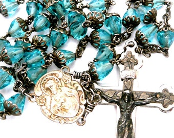Vintage Blue Glass Rosary