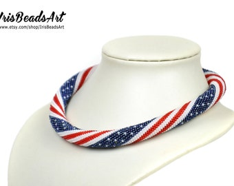 USA Flag Necklace American Flag Necklace Patriotic Necklace flag jewelry usa gift for her 4th July bead jewelry Patriotic jewelry for her