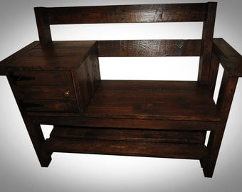Bench with Shoe Storage.Hall Shoe Rack with Storage Shelves. Shabby chic from Recycled pallet .Solid Wood. Bespoke.