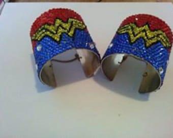 Beaded Wonder Woman Wrist Cuffs