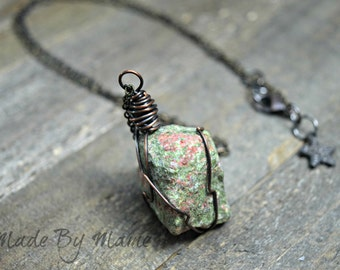 Rustic Raw Crystal Necklace, Unakite Healing Jewelry, Organic, Oxidized Copper, Bohemian Jewelry, Balance, Emotional Well Being, Artisan