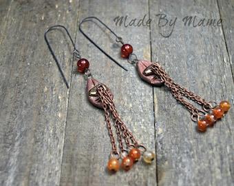 Bohemian Artisan Chandelier Earrings, Rustic Gypsy Jewelry, ScorchedEarth Ceramic Connectors, Carnelian, Orange, Earthy, Organic, Boho Chic