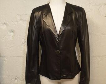 Armani Leather Jacket - Designer Black Leather Blazer