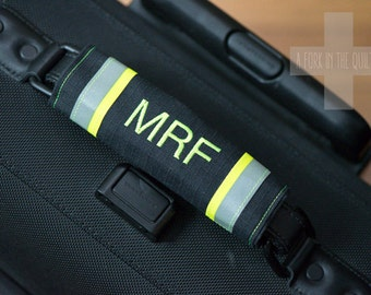 Black Canvas Luggage Handle Wrap - Monogrammed - Made from Firefighter Turnout Gear Fabric