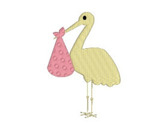 """BUY 2 GET 1 FREE - 1.5"""", 2"""", 3"""", 4"""", 5"""", 6"""" Stork With Bundle Machine Embroidery Design - 6 Sizes Including Mini Storks Movie Inspired"""