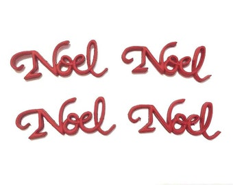 Christmas NOEL Embellishments Red Green Color Choice Set of 4 Flat Black - 701