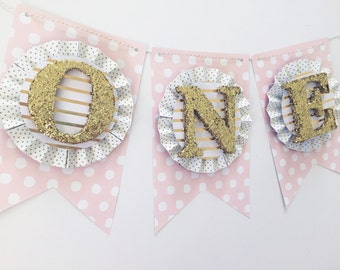 Blush Pink & Gold High Chair Cake Smash Banner. ONE Banner. Age Banner. First Birthday Decorations. Birthday Banner. ONE Photo Prop