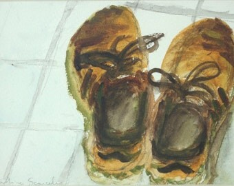 """Original watercolor - """"Shoes"""" - small size painting - framed"""