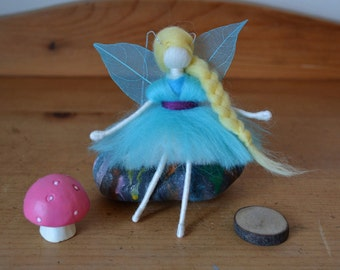 Felted Fairy - Wire doll - Blue - OOAK