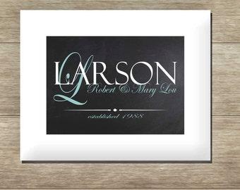 Family Last Name Monogram | Typography Print | Family Established Chalkboard Print | Digital Custom Print | Wedding Gift | Anniversary Gift