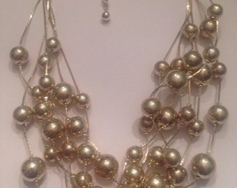 Vintage Silver Bead Necklace Multi-Strand Costume Jewelry