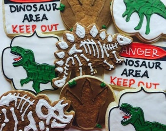 1 dozen dinosaur theme custom cookies!