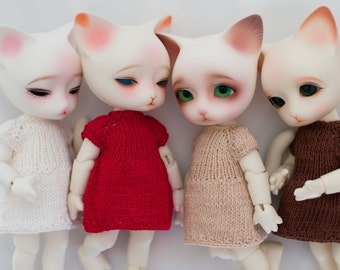Color knitting dress for BJD doll 15cm size Pukifee/Lati Yellow.