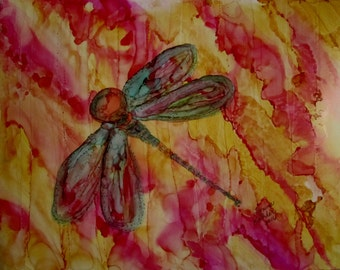 "Original Painting 5x7"" muted flowers dragonfly"