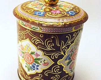 Vintage Daher Floral Tin, Small English Lidded Tin