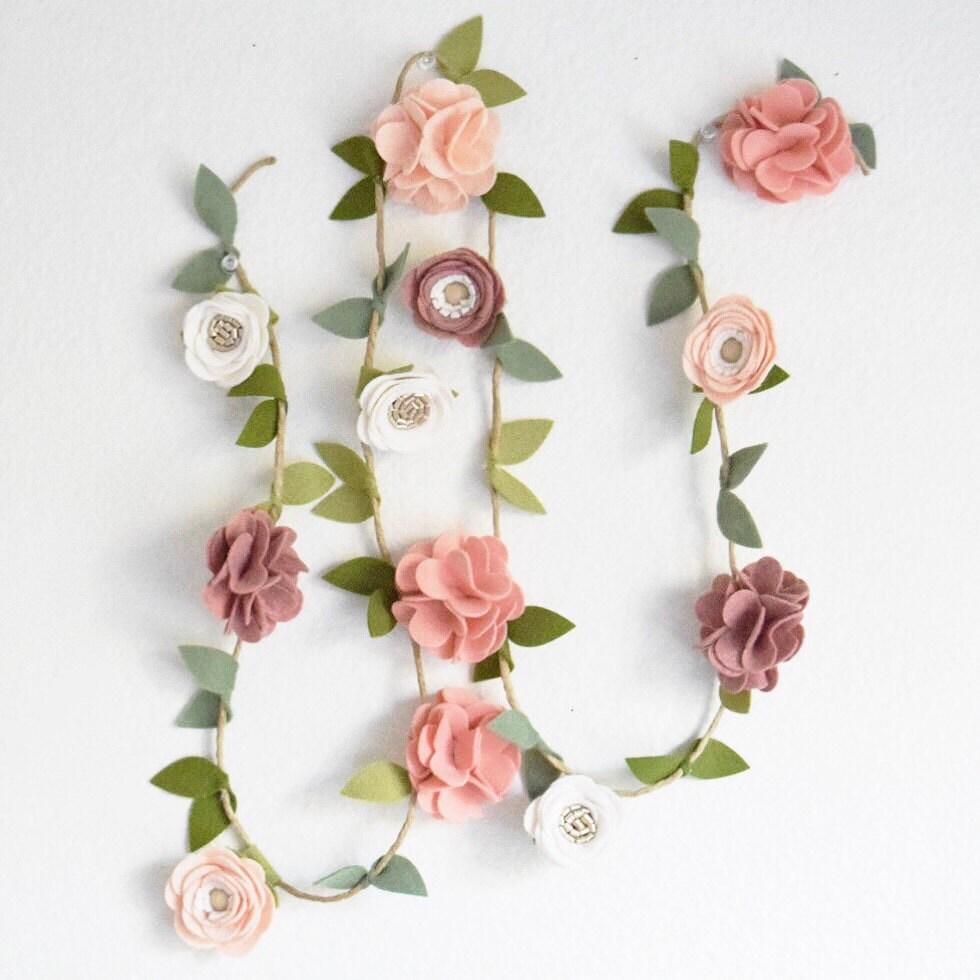 Flower Garland: Felt Flower Garland//Mixed Flower//CUSTOM By EnchantedBowShop