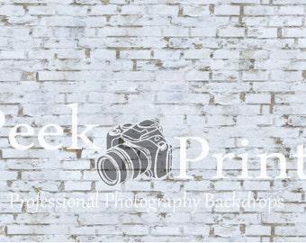 6ft.x4ft. Vintage White Brick Vinyl Photography Backdrop Floor Drop - Vinyl Background - Brick Background - White Vintage Brick - Bricks