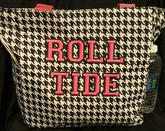 Black and pink Hounds tooth Roll Tide tote bag