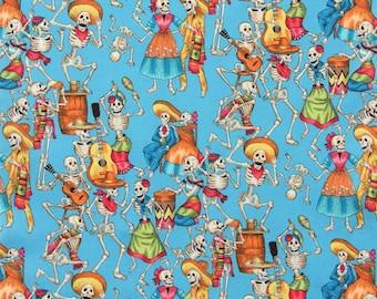 Fiesta De Los Muertos Turquoise, dancing skeletons cotton fabric