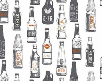 Hipster Home Brew Beer Bottle on White cotton fabric by Dear Stella