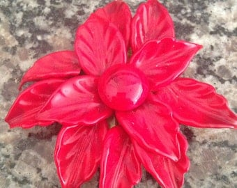 Large Glass Poinsettia Brooch/Clip