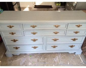 10 Drawer Gray Dresser, Buffet, changing table by Bassett, nursery, bedroom, furniture