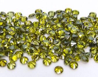 500pcs.Wholesale Olive Cubic zirconia CZ Round cut 1.25mm. loose gemstones.