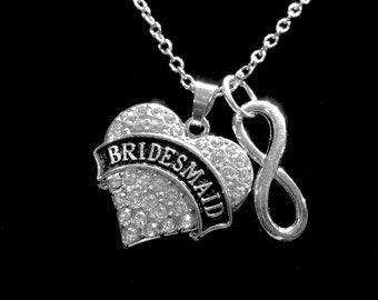 Crystal Heart Bridesmaid Gift Wedding Infinity Bridal Party Charm Necklace