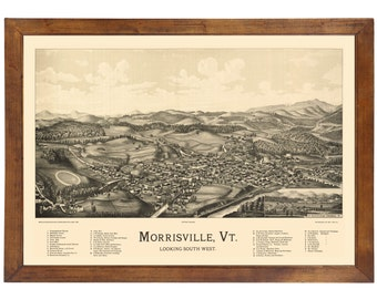 Morrisville, VT 1889 Bird's Eye View; 24x36 Print from a Vintage Lithograph