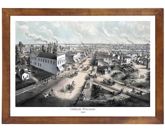 Oshkosh, WI 1860 Bird's Eye View; 24x36 Print from a Vintage Lithograph