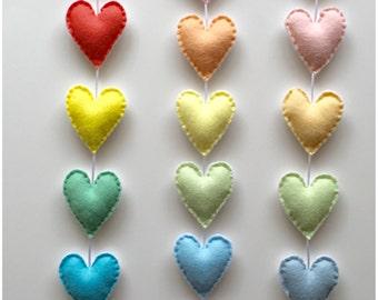 Rainbow Hearts Vertical Felt Garland