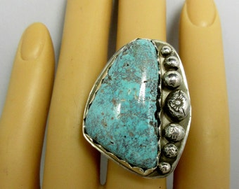 Bisbee Turquoise Sterling Silver Ring Size 12 Bisbee Cabochon Arizona Turquoise Handmade Ring Boho Ring Southwest Ring Silver Ring #V241