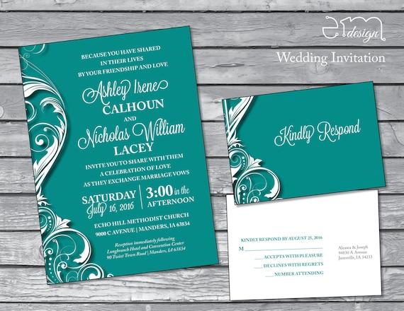 Wedding Invitation Formal: Teal Green Formal Wedding Invitation Elegant By