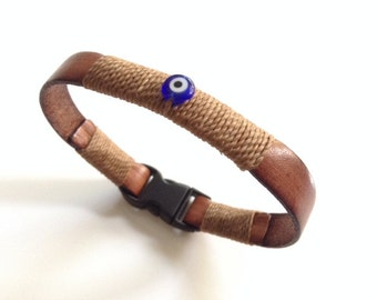 Men's Bracelet, Leather men bracelet, men bracelet leather Evil eye bracelet Men's Bracelet Kabbalah bracelet, jewish gift, lucky bracelet