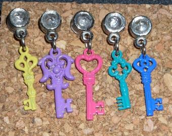 Dangle Push Pins, Thumb Tacks, party favors - antique colorful keys