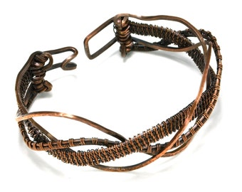 """ON SALE! Antiqued Copper Wire Woven """"Wave"""" Bracelet with Hinged Clasp"""