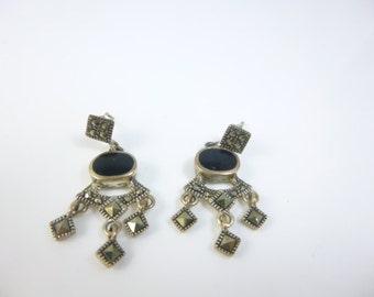 Marcasite Earrings,  Sterling Silver Dangle Earrings, Chandelier Earrings, Onyx Earrings
