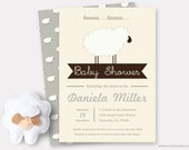 Gray Sheep Baby Shower Invitation Printable, Sweet Little Lamb Baby Shower Theme, Baby Thank You Cards Template neutral, Custom Colors