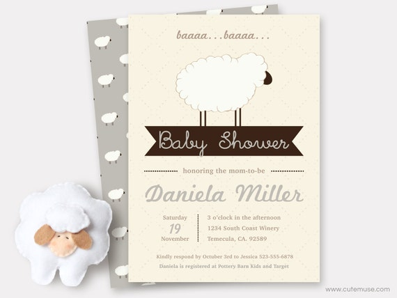 gray sheep baby shower invitation printable, sweet little lamb, Baby shower